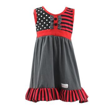 Boutique 2017 Verano Vestidos Para Niñas De 10 Años Sin Mangas Ruffle Stripe Polka Dot Vestido Del Bebé Recién Nacido Cumpleaños Vestido Buy