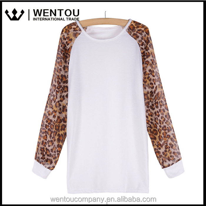 Freeshipping Round Neck Cotton Leopard Pullover