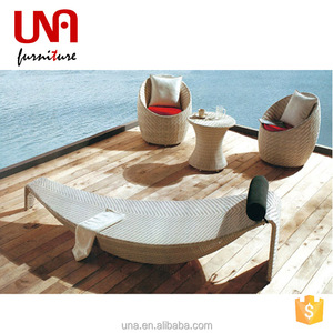 Una rattan lounge sunbed sun lounge aluminum furniture pool lounger