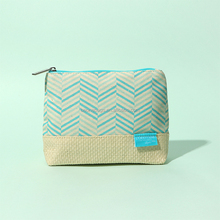 Chevron Canvas Cosmetic Bag with Straw Woven Bottom