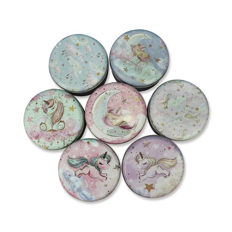 Free sample High Quality Durable Using Unicorn Pattern Tin Plate Round Flat Box Design For Tea