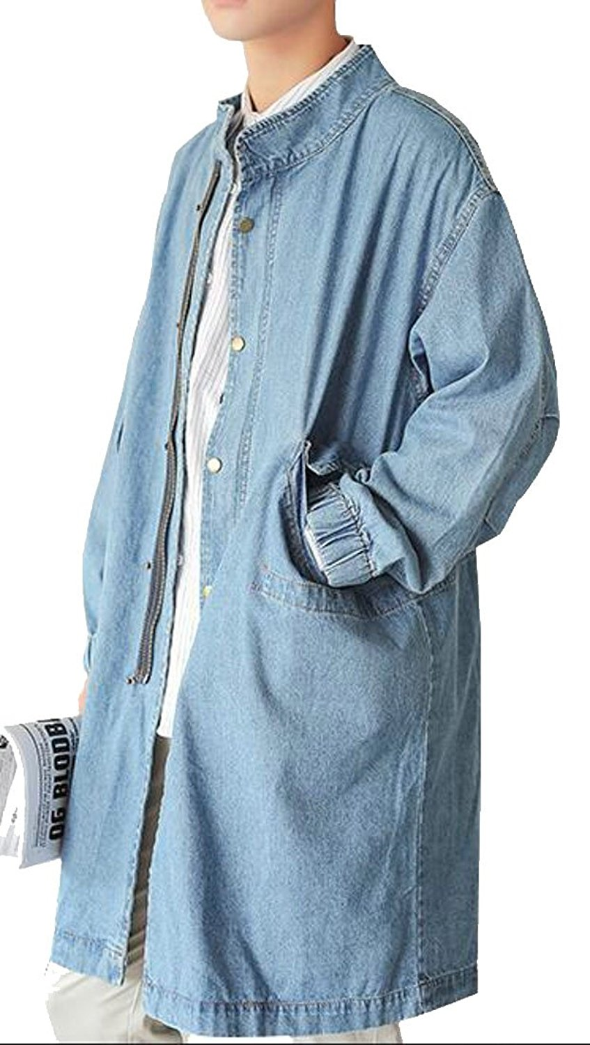 ONTBYB Mens Loose Fit Single Breasted Denim Trench Coat Jacket Clothes