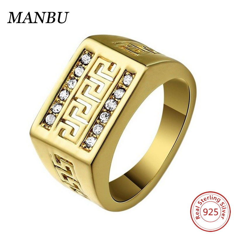 Men's 18K Gold Plated Great Wall Pattern Boss Ring