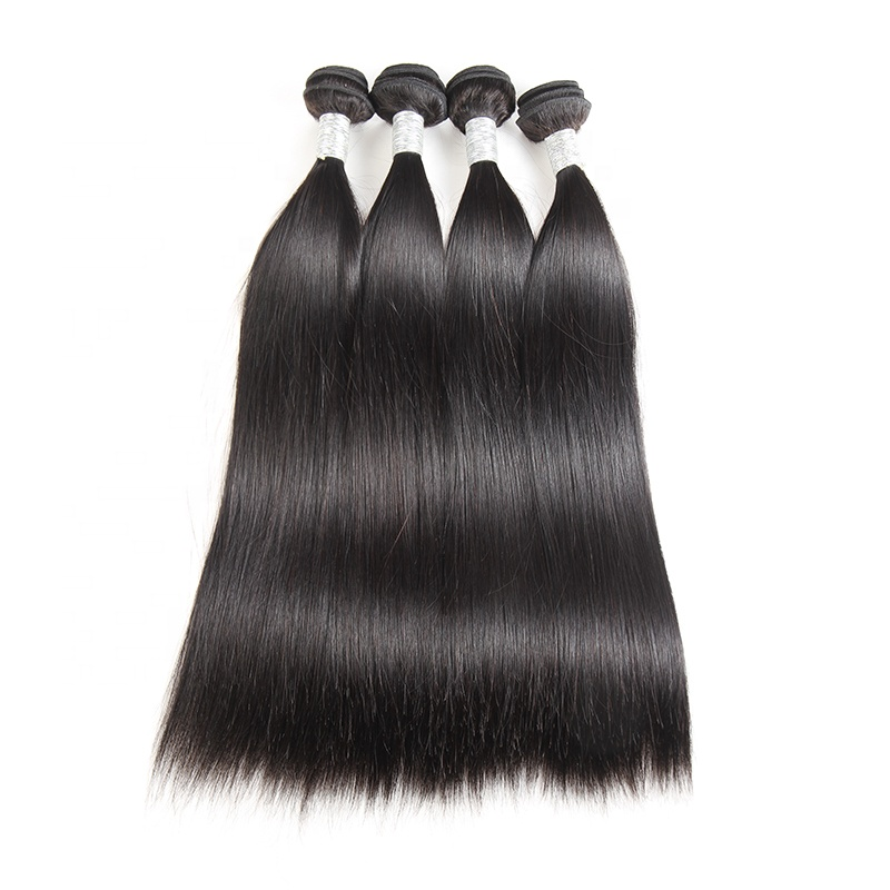 Ms Mary Top Grade Best Quality 10A Mink Raw Unprocessed Brazilian Silky Virgin Straight 100% Human Hair Cuticle Aligned Hair, Natural color #1b