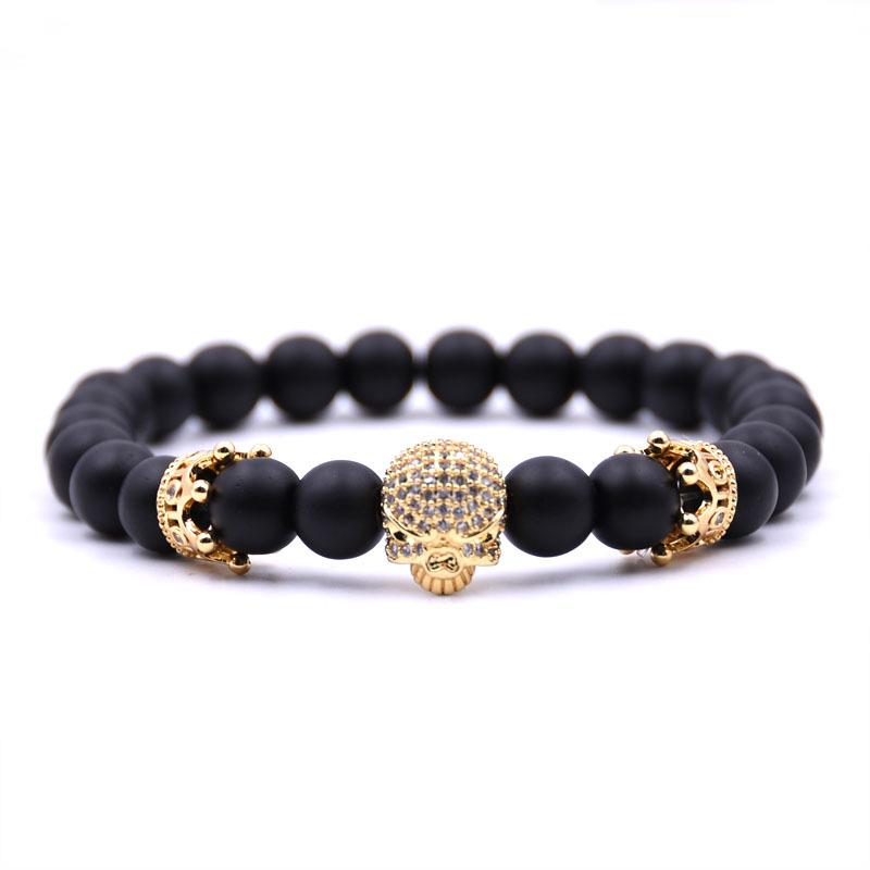 Qianrui fashion jewelry 8mm matte black agate stone mens skull bracelet 14k gold spacer beads, gold bracelets for men designs фото