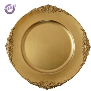 PZ21080 wholesale cheap low price china disposable christmas gold plastic charger plate