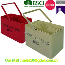 Metal Housekeeper Cleaning Tool Caddy with Removable Caddy Tray Carry Box