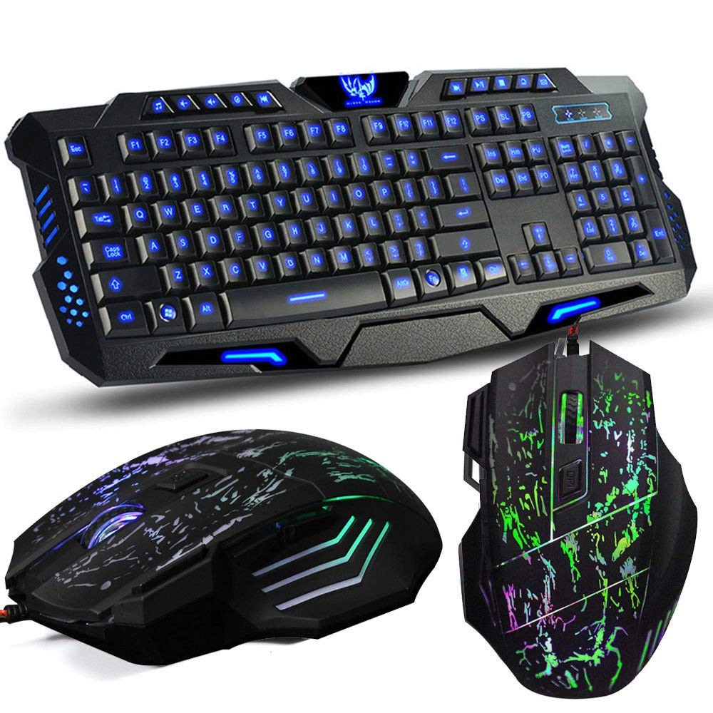 cd901485c80 Get Quotations · ANDROSET 3Color LED Backlight Wired USB Gaming Keyboard  and 2400DPI Mouse Mice Set (1X GAMING