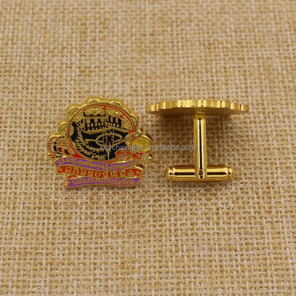 Unique style plated gold / black nickel with logo soft enamel cufflink back