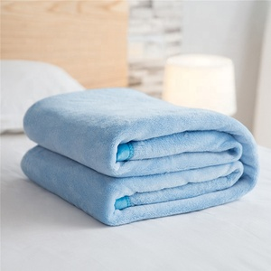 Super Soft Flannel Fleece Blanket Air Condition Blanket Edge Plain Color Queen Size King Size for bedroom OEM