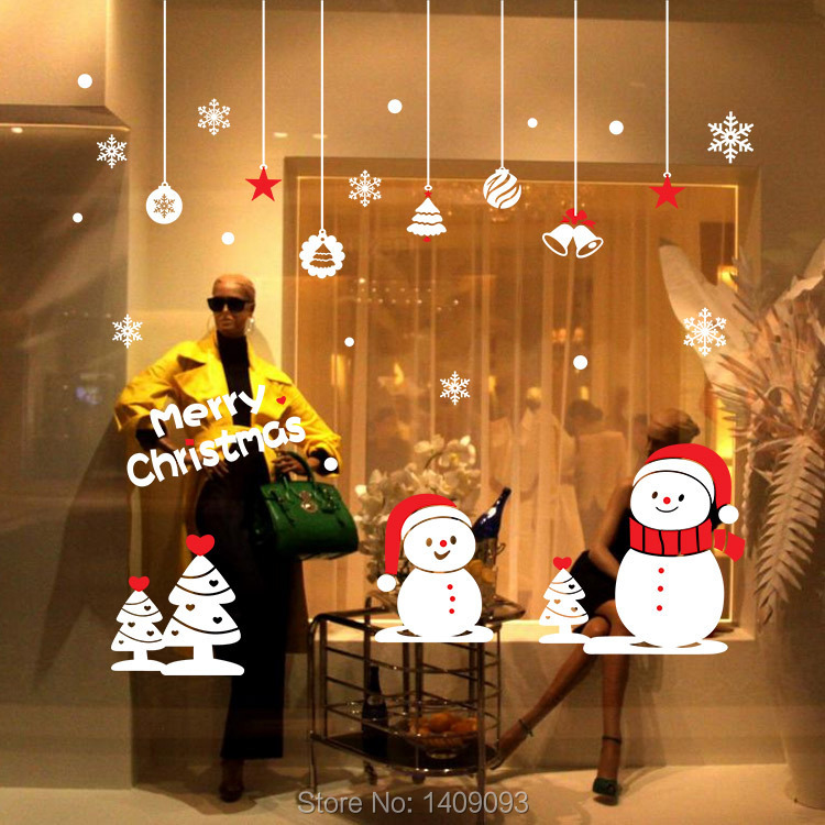 New 2015 Winter Wall Decals Creative Christmas Snowman Shop Window Decoration Large Vinyl Sticker Home Decor For Kids Room