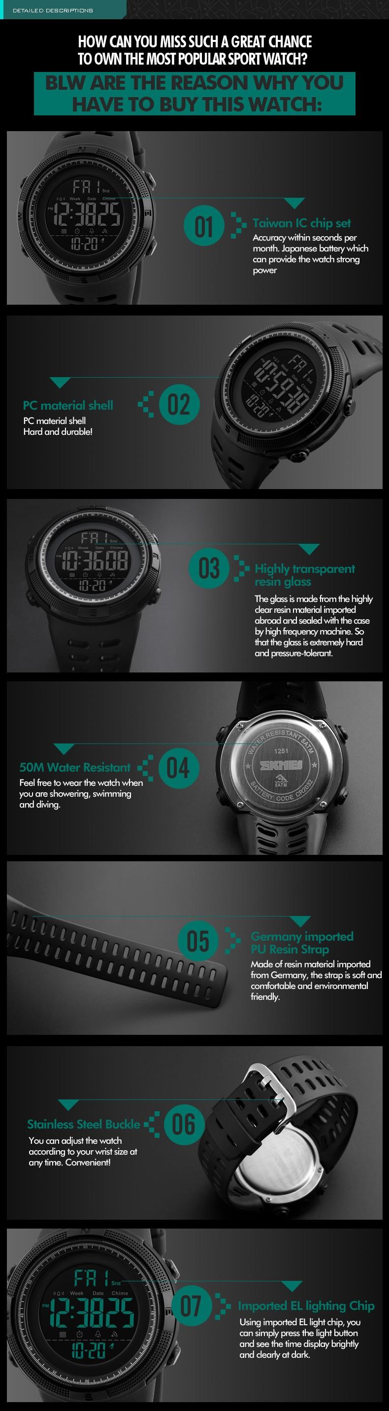 Chinese Supplier Men Luxury Sport Wristwatch Skmei 1251 LED Digital Countdown Double Time Watch Fashion Alarm Watches Men