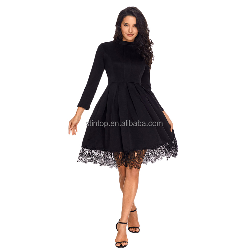 Europe station office ladies elegant dress high-collar long-sleeved high-waisted hem skirt lace large size women's dress фото