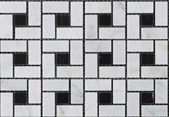 CARRARA WHITE MARBLE POLISHED PINWHEEL MOSAIC TILE BLACK DOTS