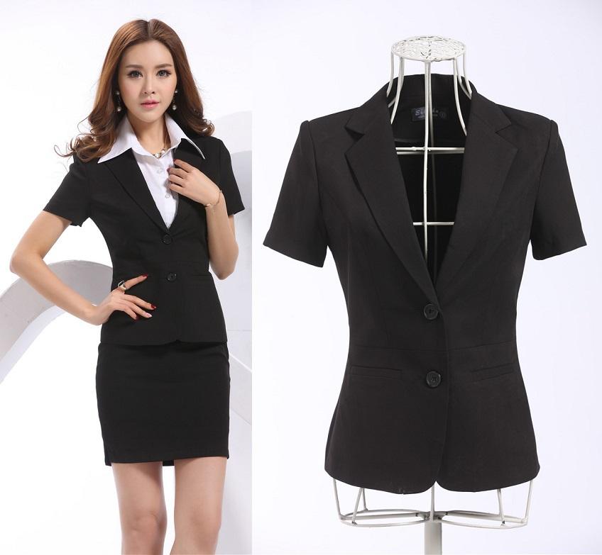 820260e120b Get Quotations · New Elegant Black Plus Size Fashion Slim Formal Blazers  Feminino Uniforms 2015 Spring Summer Work Wear
