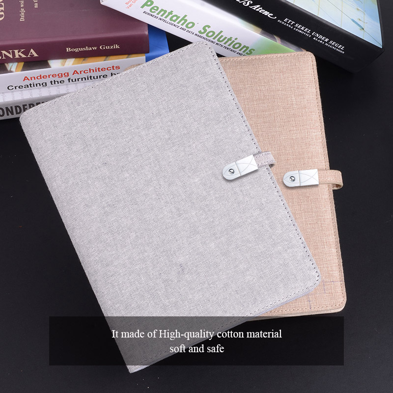 Creative Notebooks with 16GB USB with Phone Removable Power Unique Design High Quality Cotton and Linen Travel Planner 2018