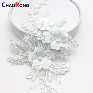CRN0441 fashion white flowers beaded luxury applique bridal lace