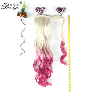 Ombre Pink Synthetic Hair Ponytail Claw Clip Ponytail Hair Extension False Hairpiece Fake tress Drawstring Ponytail
