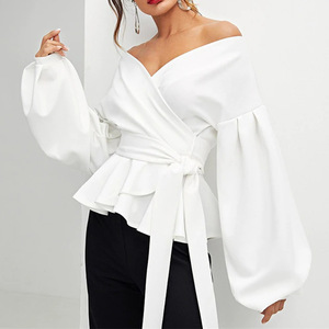 Women Sexy Tops and Blouses Shirt with Lantern Sleeve and off Shoulder