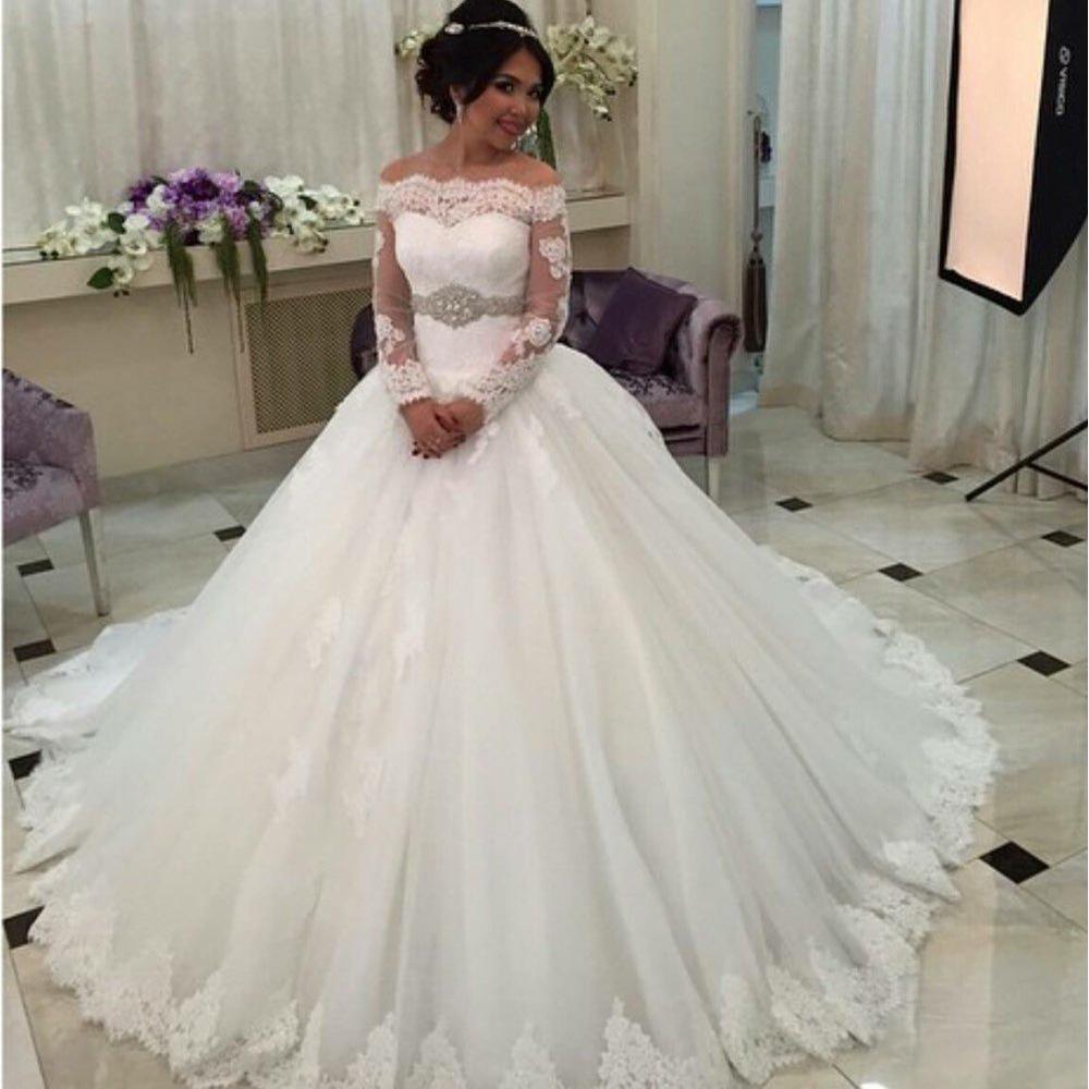 On3042 Arabie Saoudite Robe De Mariee Robe De Mariage De Luxe A Manches Longues Robes De Mariee De Mariee En Dentelle Robe De Bal En Cristal Ceinture