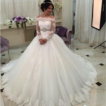On3042 Saudi Arabia Wedding Dress Robe De Mariage Luxury Long Sleeve Dresses Lace Bride Ball