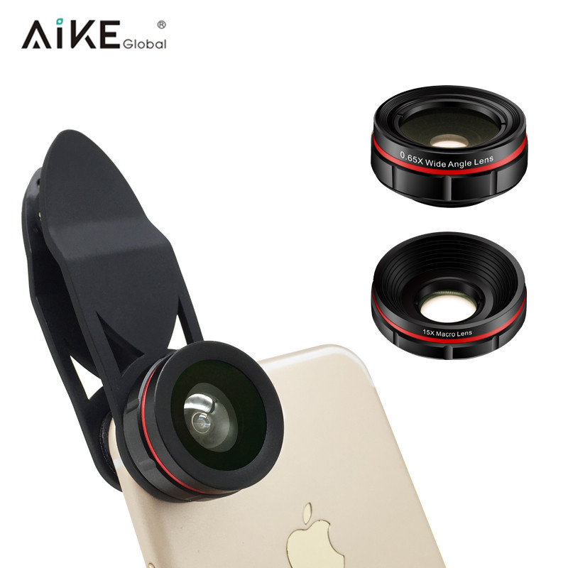 For iPhone Samsung HTC LG 230 Degree Fisheye Lens 0.63X Wide Angle Lens 15X Macro 3 in 1 Camera Lens Kit