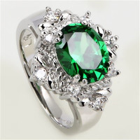 lab created emerald imitation emerald silver ring