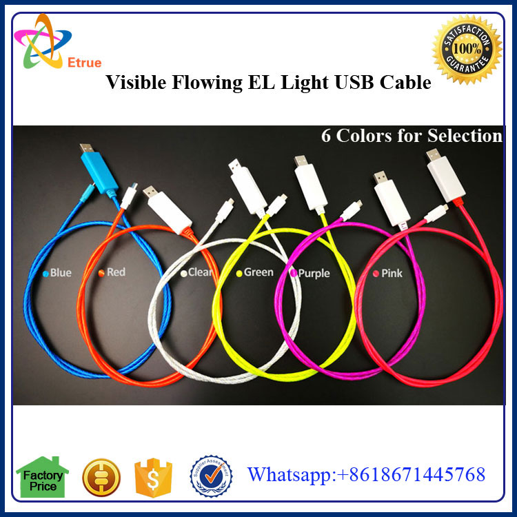 EL Wire Light for iPhone USB Cable; Charging Current Speed Indicate and Date Sync USB Cable for iPhone 7 EL Wire Cable