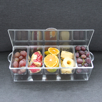 5 Compartment Bar Clear Condiment Jar Plastic Serving Ice Chilled Tray