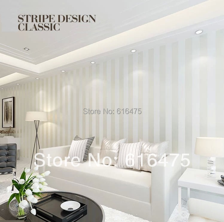 Luxury Living Room Color Schemes: European Modern Minimalist Country Luxury Stripe Wallpaper