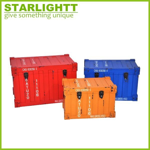 Main antique style container shape bois coffre de for Container bois prix