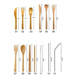 Wholesale 2019 Hot Selling Biodegradable Camping Bamboo fork,spoon,chopsticks,knife,straw bamboo cutlery set reusable