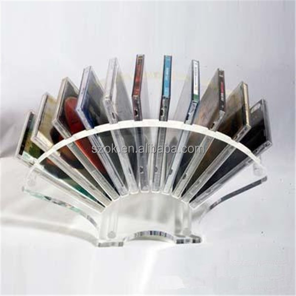 Arc-shaped Countertop Clear Acrylic Bookcase