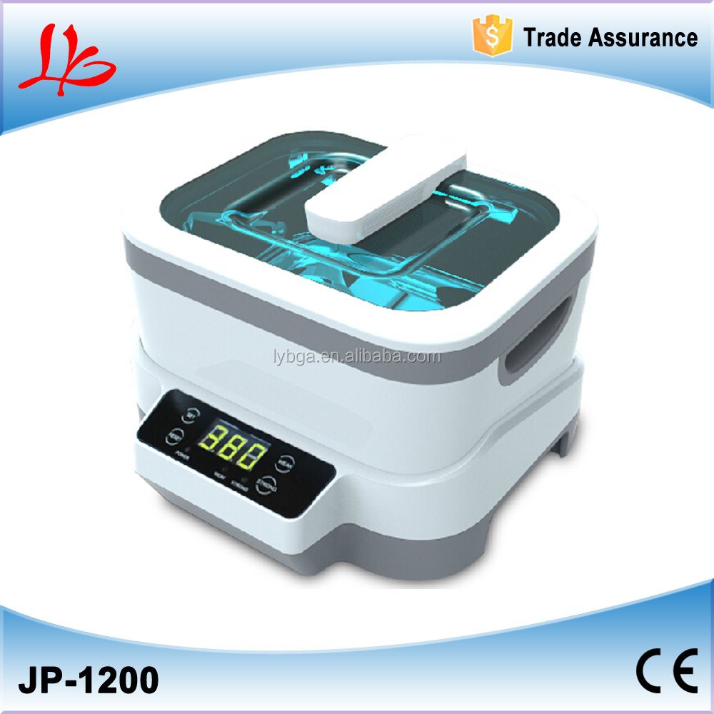 Mini 1.2L Ultrasonic cleaner JP-1200 with Polished stainless steel tank for denture/eyeglass/jewelryultrasonic cleaner