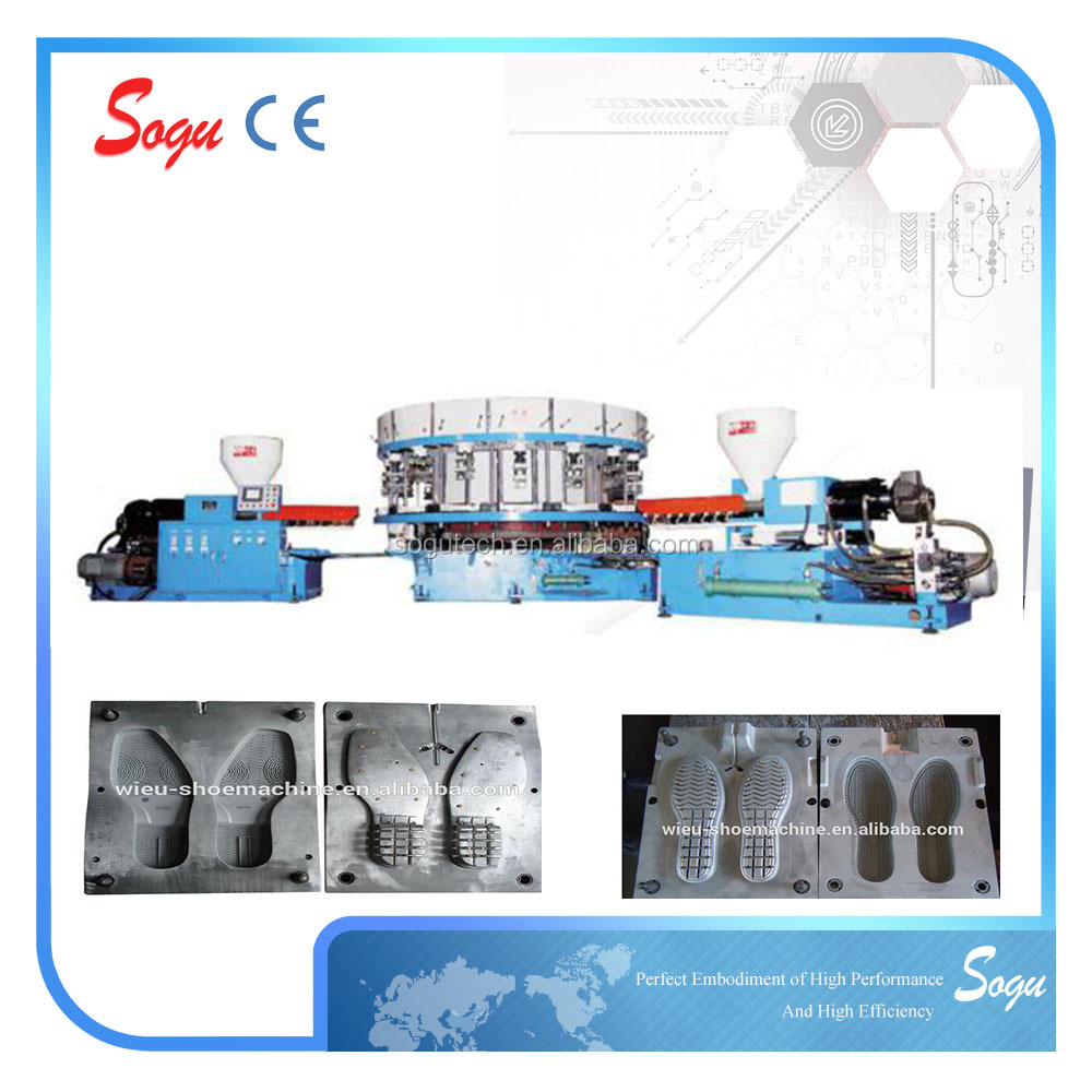 Xz0132 FULL-AUTO ROUND-DISK TYPE DIRECTLY INJECTING AND FORMING MACHINE FOR MOND-COLOR LEISURE AND SPORTS SHOES