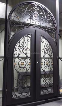2016 New Double Front Iron Gate Door Moden Arch Top With Half Windows  Exterior Door