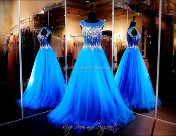 Brilliant Blue Gown High Illusion Neckline Keyhole Open Back Formal Long Prom Dresses Party Evening 2015 WH505