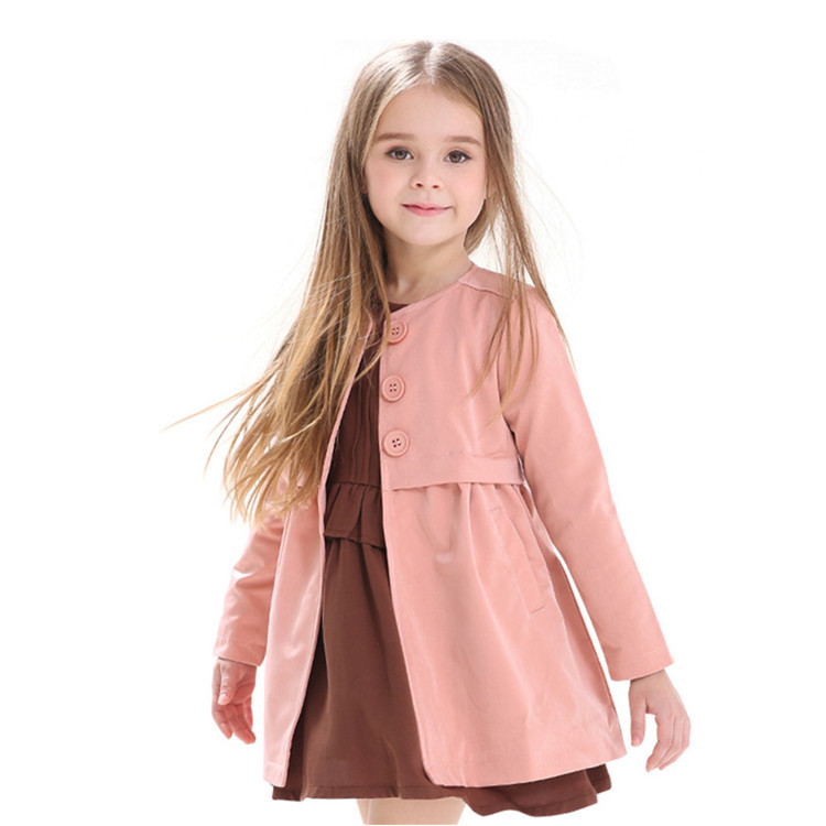 New Autumn Brand Kids Clothes Baby Girl Trench Coat Classic Designer Solid Jackets For Girls Children Windbreake Outerwear