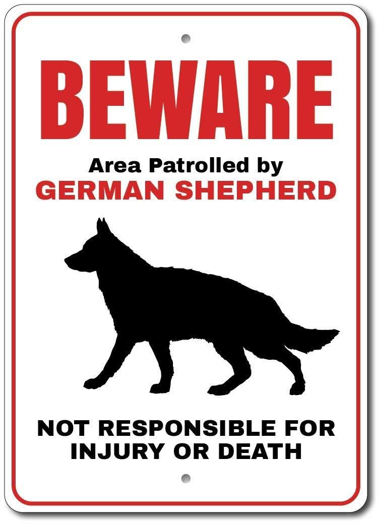 "German Shepherd Sign, German Shepherd Gift, German Shepherd Decor, German Shepherd Owner Sign, Beware Dog Sign, Quality Metal - 12""x18"""