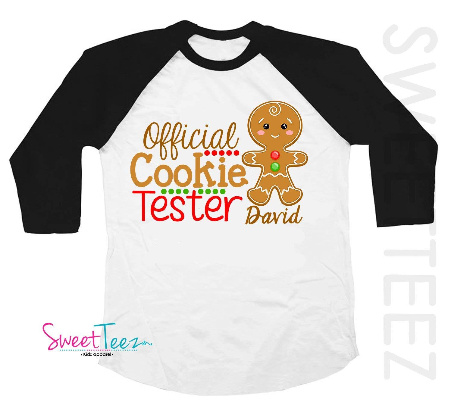 7d266fabc264 Get Quotations · Cookie Tester Shirt Personalized Christmas Shirt  Gingerbread Shirt Boy Girl Black Raglan