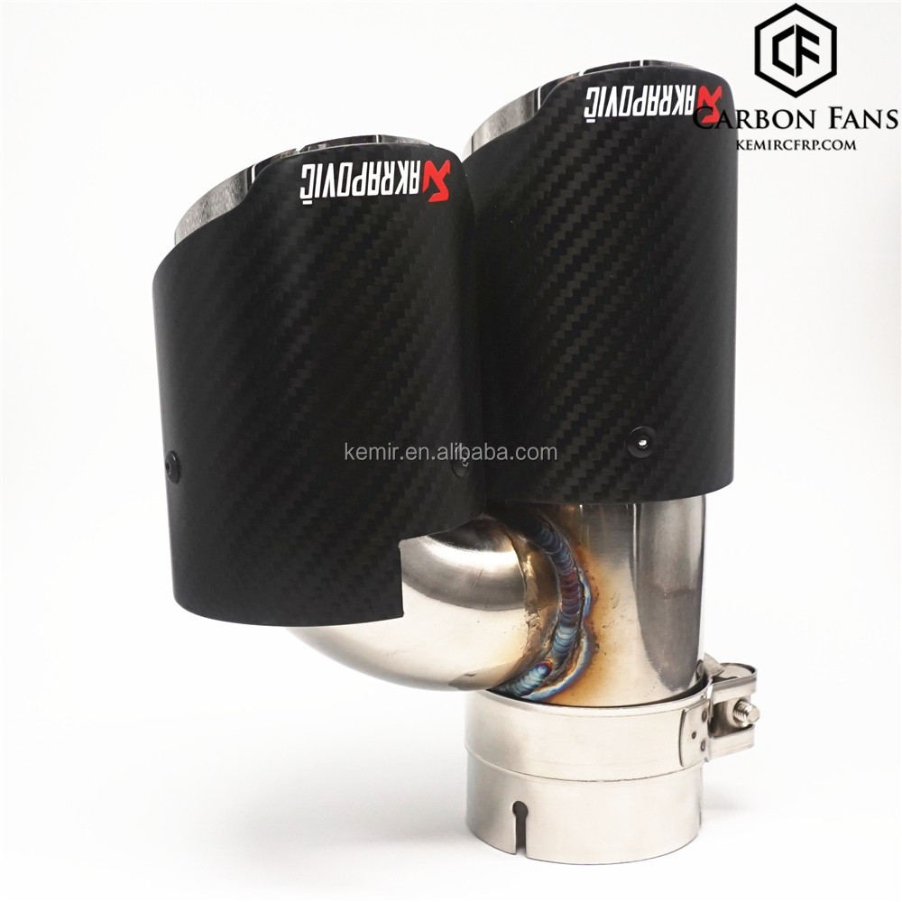 r style Two outlet Akrapovic Carbon fiber Dual outlet pipes with 304 Stainless Steel, 51/60/6376/89/101/114mm/67/70/76mm--