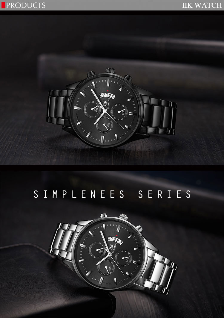 30atm water proof IIK Collection Big Date Men Black Simple Watch With Date Wristwatches For Men
