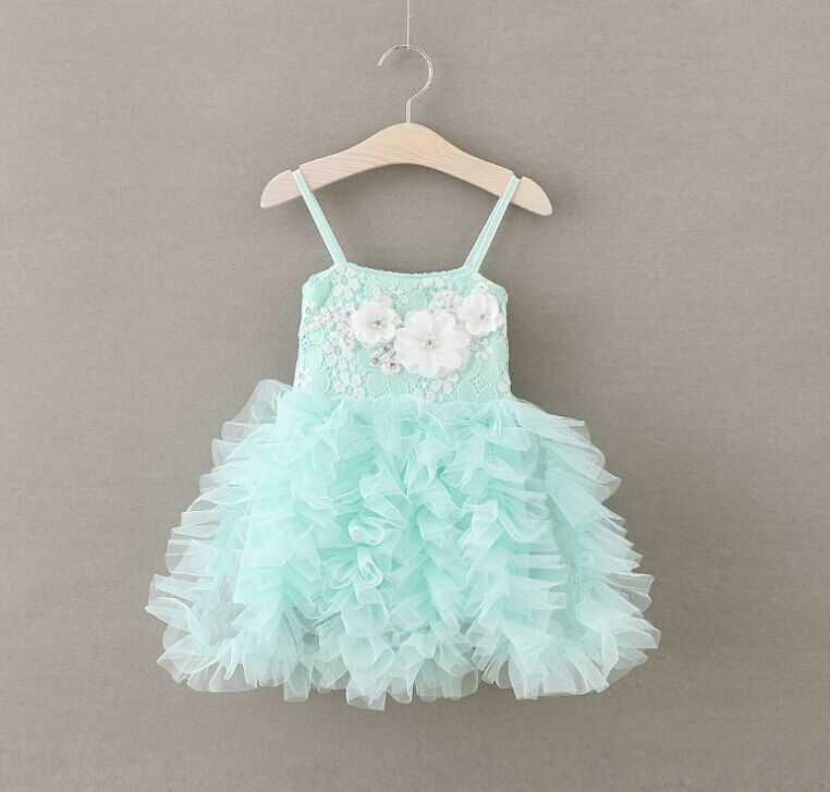 Wholesale girls dress names with pictures flower fashion shoulder-straps dress