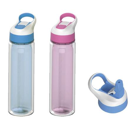 ECO-fridenly BPA free material plastic double wall water bottle with snap