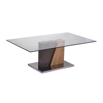 Cheap design modern high quality glass coffee table with stainless steel