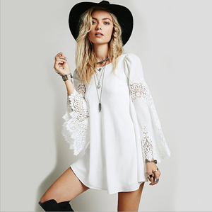 2019 wholesale Casual Feather Print dress Boho Chiffon Big Size Clothes for fat women