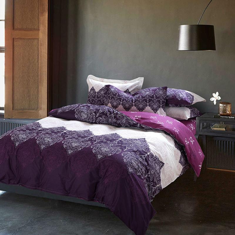 Unique Light Purple Bedding Set 4pcs Cotton Duvet Cover