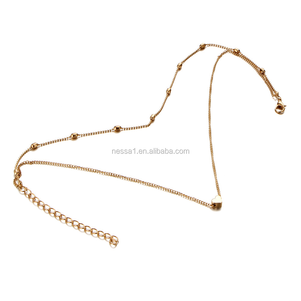 Fashion Gold Plated Heart Pendant Costume Necklaces Jewelry For Women Wholesale NSNK-0001