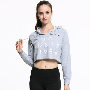 Sexy Women Street Sports Gym Fitness Yoga Workout Wear Clothes Printed Crop Hoodies Tops With Drawstring