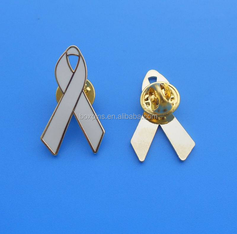 Existing Mold White Lung Cancer Awareness Ribbon Brooch Pin Product On